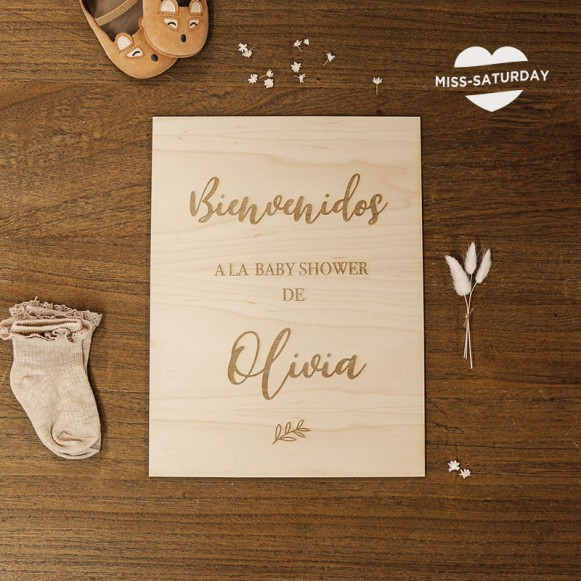 Cartel de madera Baby Shower