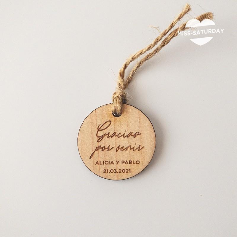 Etiqueta perso. madera Botanic - Gracias