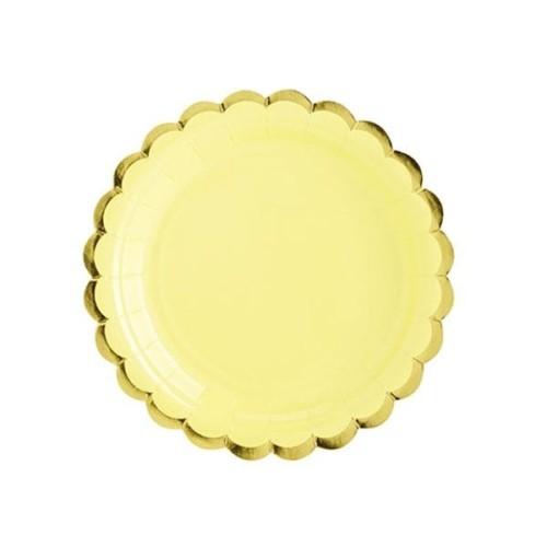 6 Platos pequeños Amarillo y dorado