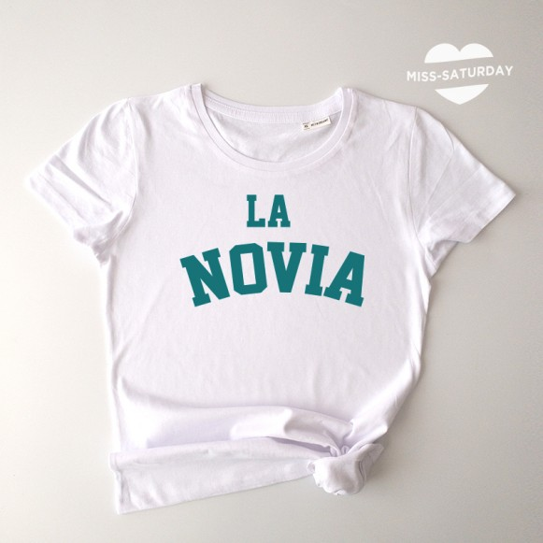 Camiseta blanca Novia turquesa