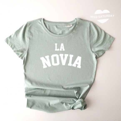 Camiseta verde Novia blanco