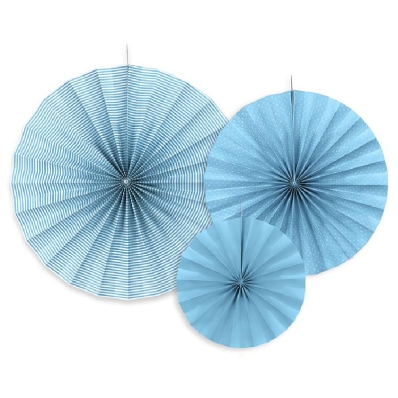 3 Abanicos Azul turquesa