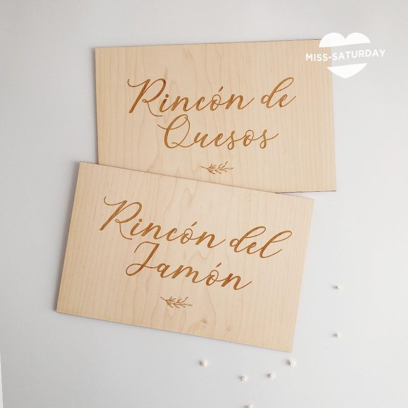 Cartel madera Rincón de jamón