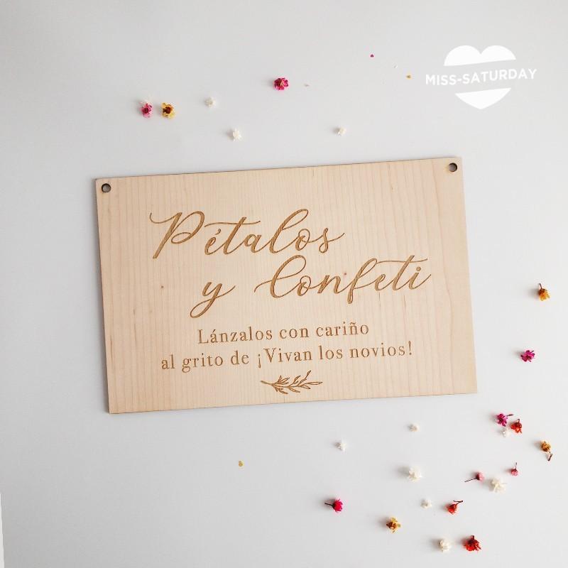 Cartel madera boda