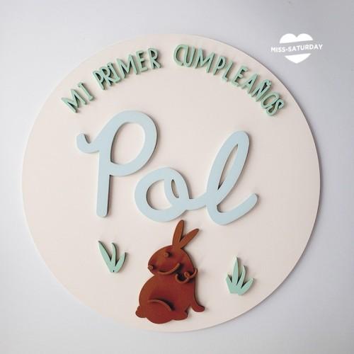Cartel personalizado relieve Conejo