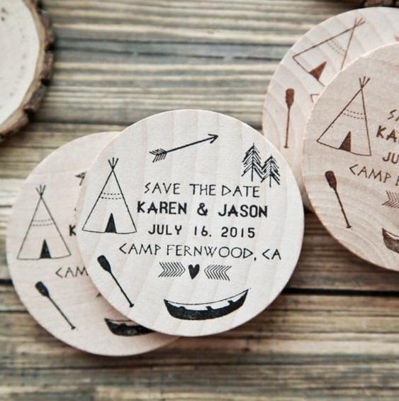 invitacion de boda madera